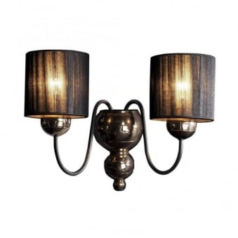 Garbo Double Wall Light in Bronze with Black String Shades