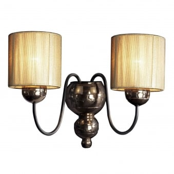 Garbo Double Wall Light in Bronze with Gold String Shades