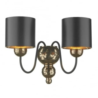 Garbo Wall Light in Bronze with Bronze Lined Black Shades