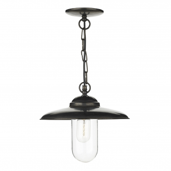 Nautilus Solid Brass Outdoor Pendant in Old Iron Finish