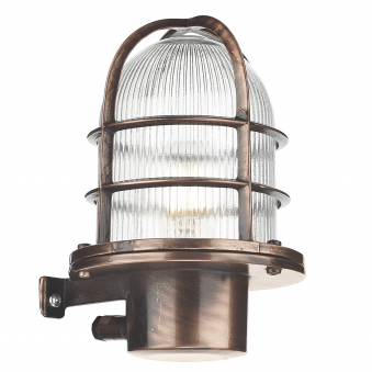 Pier Solid Brass Outdoor IP64 Wall Light in Antique Copper