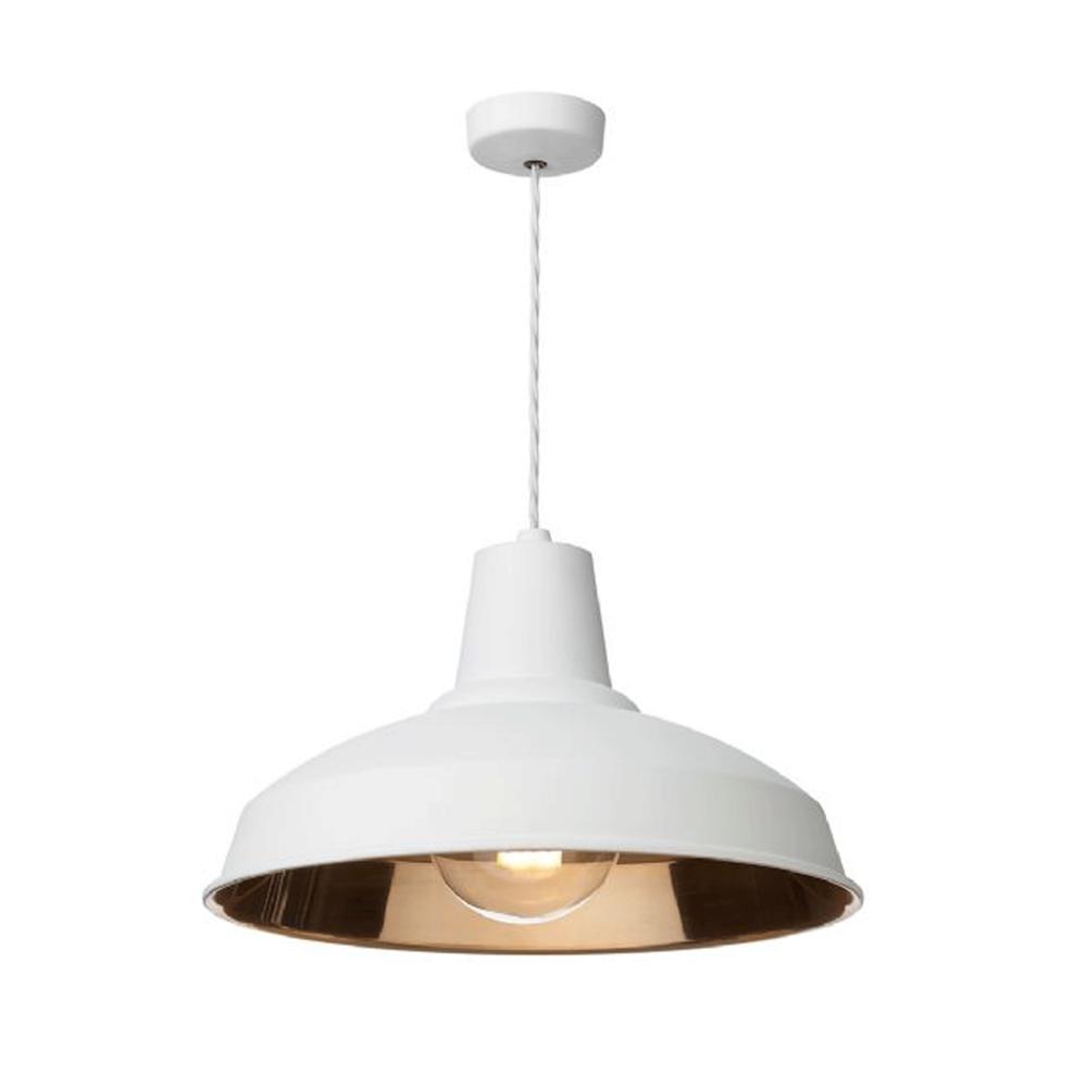 david hunt lighting reclamation white and copper pendant light  - reclamation white and copper pendant light