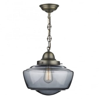 Stowe Smoked Glass Pendant in Antique Brass
