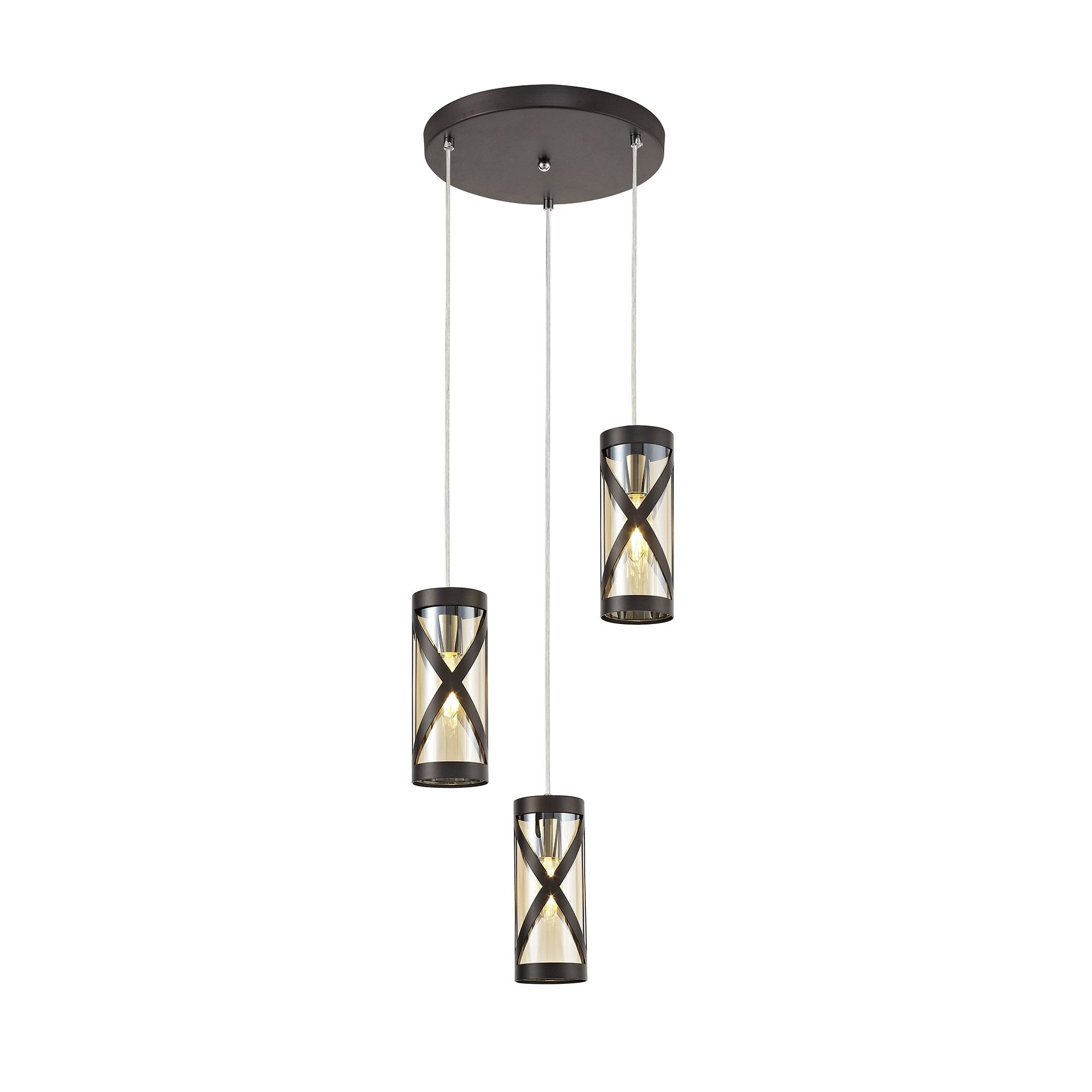 Dusk Collection Harberton Three Light Round Pendant In Oiled Bronze Polished Chrome Amber Fitting Style From Dusk Lighting Uk