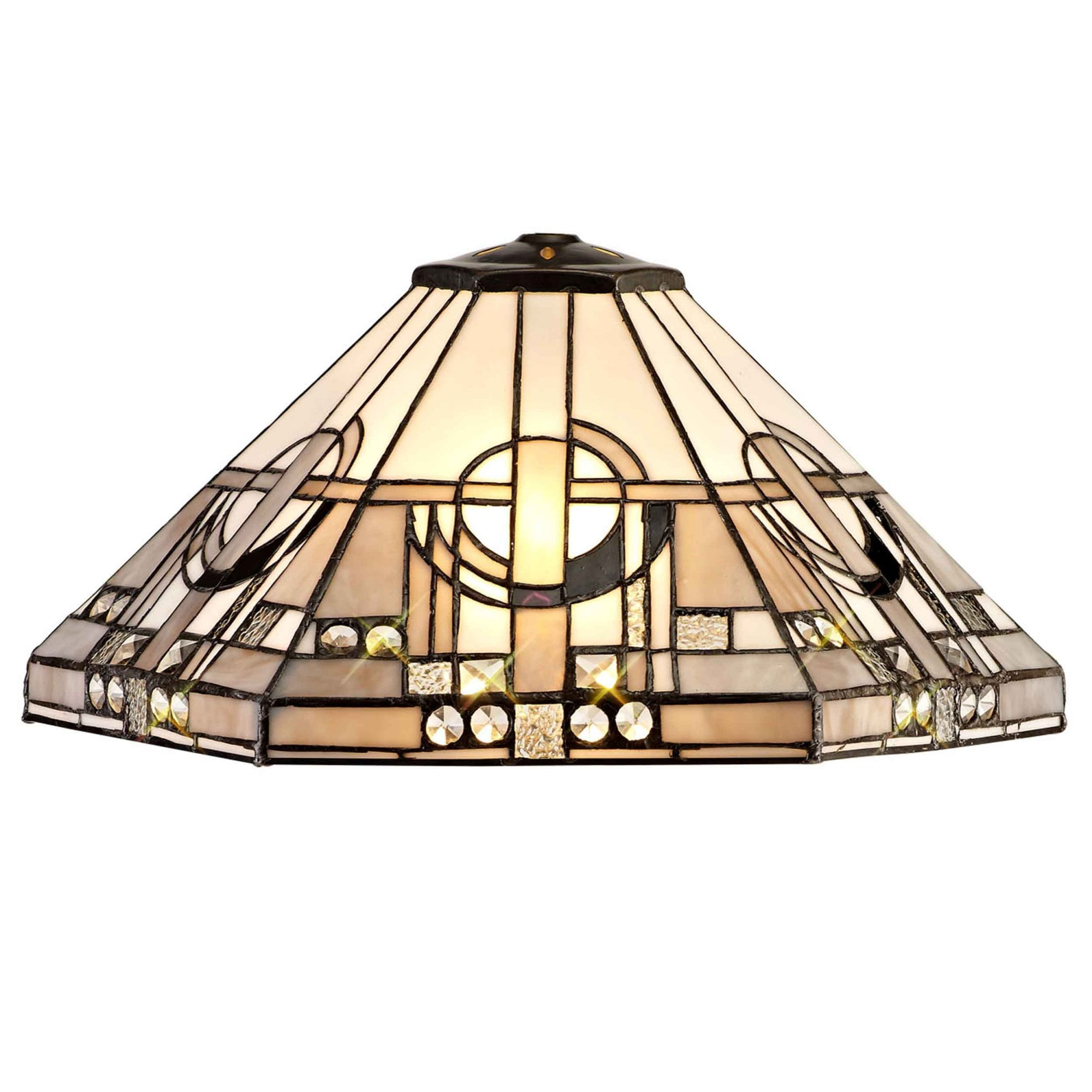 Dusk Collection Jacobstowe Tiffany 40cm Shade Only Suitable For Pendant Ceiling Table Lamp White Grey Black Clear Crystal Fitting Style From Dusk Lighting Uk