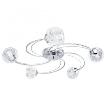 Altone Five Arm Chrome and Glass Globe Ceiling Light