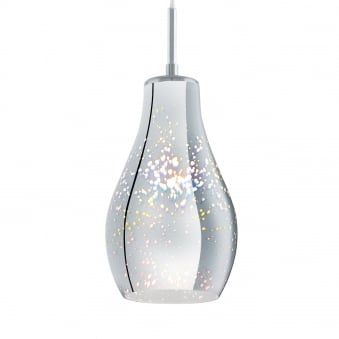 Alvaredo Single Drop Pendant Iridescent Chrome Glass