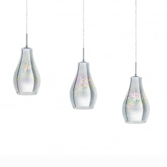 Alvaredo Triple Bar Pendant Iridescent Chrome Glass