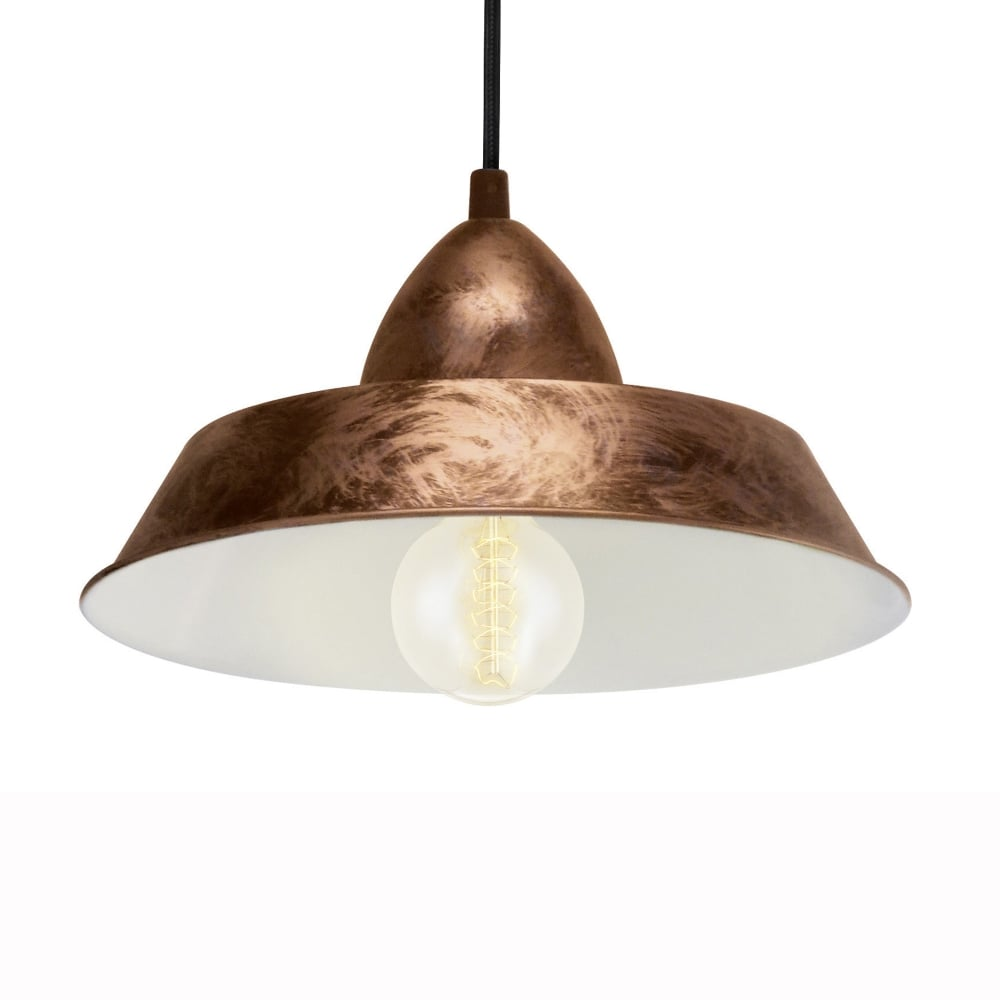 Commercial Lighting Auckland: Eglo 49243 Auckland Coppery Steel Industrial Pendant Light