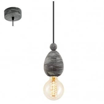 Avoltri Ceiling Pendant in Patina Black Wood
