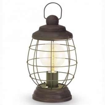 Bampton Patina Brown Open Lantern Style Table Lamp