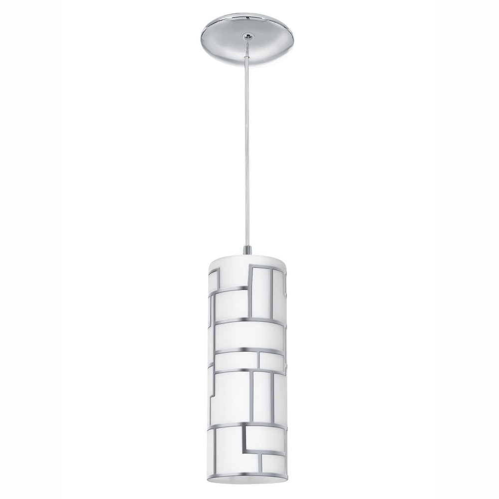 Eglo 92562 Bayman Single White Glass And Chrome Pendant Light