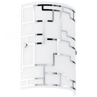 Bayman White Glass and Chrome Wall Light