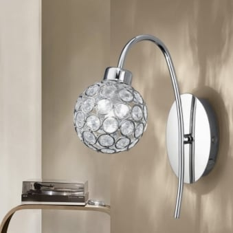 Beramo 1 Crystal Glass and Chrome Globe Wall Light