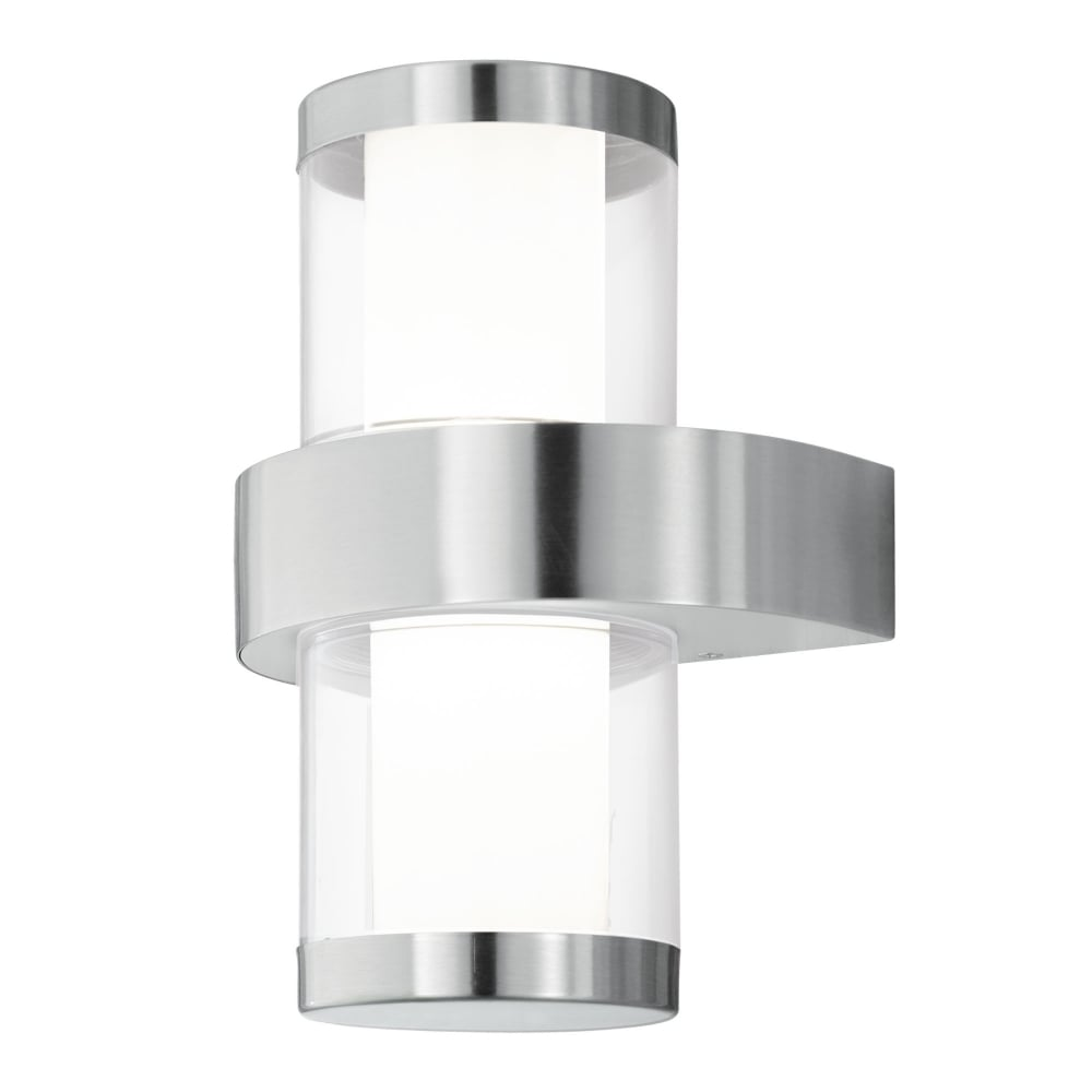 eglo 94799 beverly 1 led ip44 outdoor wall light in stainless steel. Black Bedroom Furniture Sets. Home Design Ideas