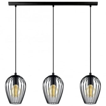 Black Newtown Three Drop Bar Pendant Light
