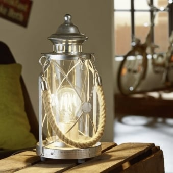 Bradford Antique Silver Rope Lantern Style Table Lamp