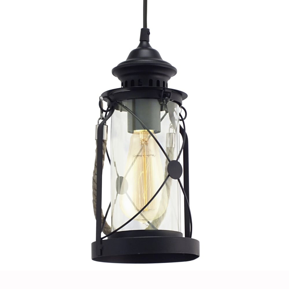 Eglo 49213 Bradford Black Lantern Style Pendant Light