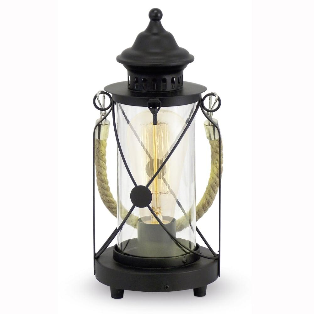 Eglo Bradford Black Rope Lantern Style Table Lamp