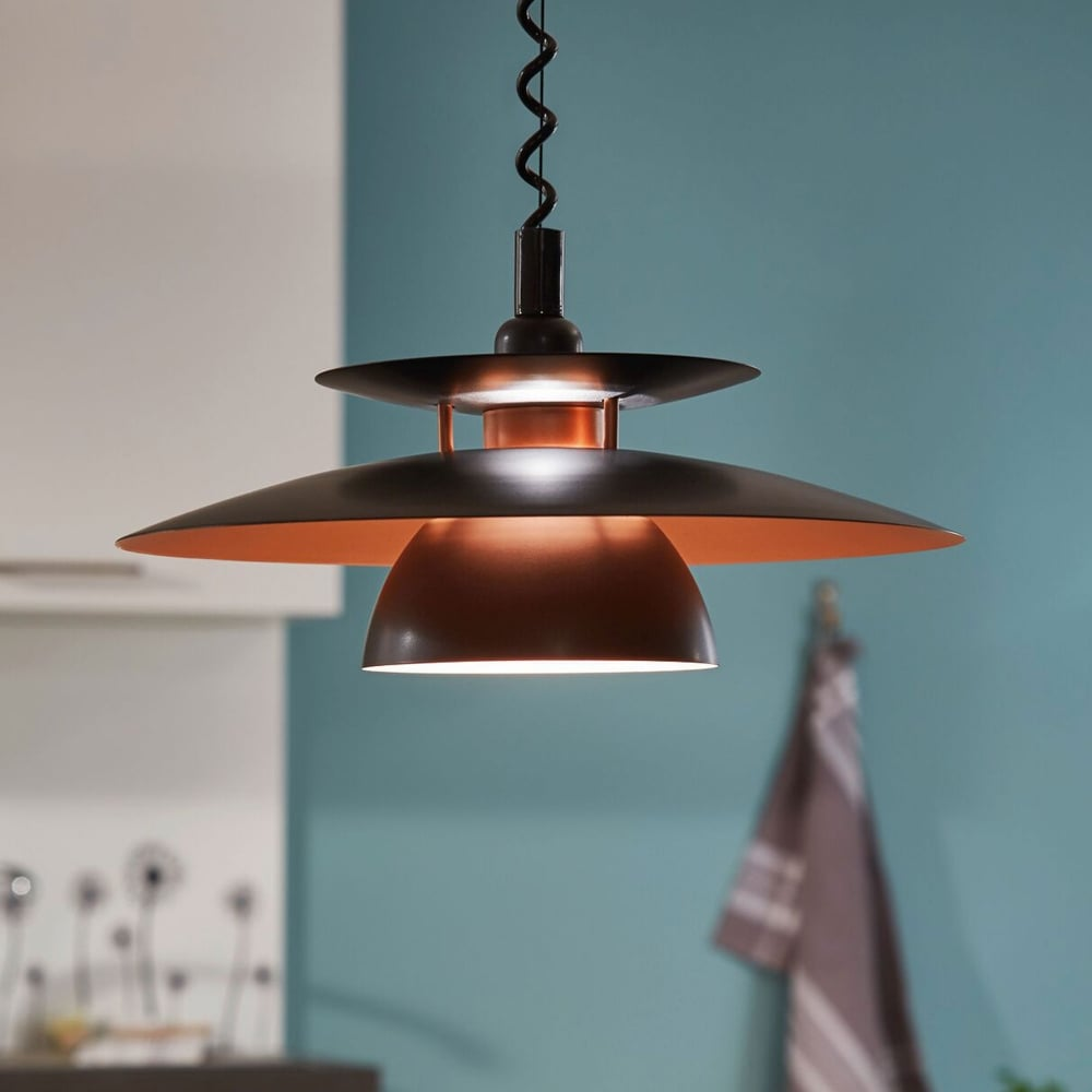 Eglo 31666 Brenda Rise and Fall Ceiling Pendant in Black ...
