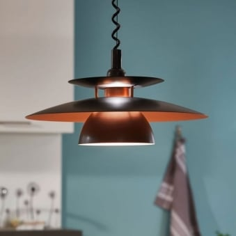 Brenda Rise and Fall Ceiling Pendant in Black and Copper