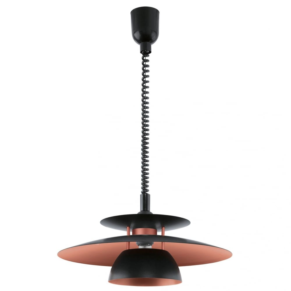 Eglo 31666 brenda rise and fall ceiling pendant in black and copper brenda rise and fall ceiling pendant in black and copper mozeypictures Image collections