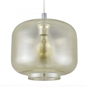 Brixham Amber Glass and Chrome Pendant Light