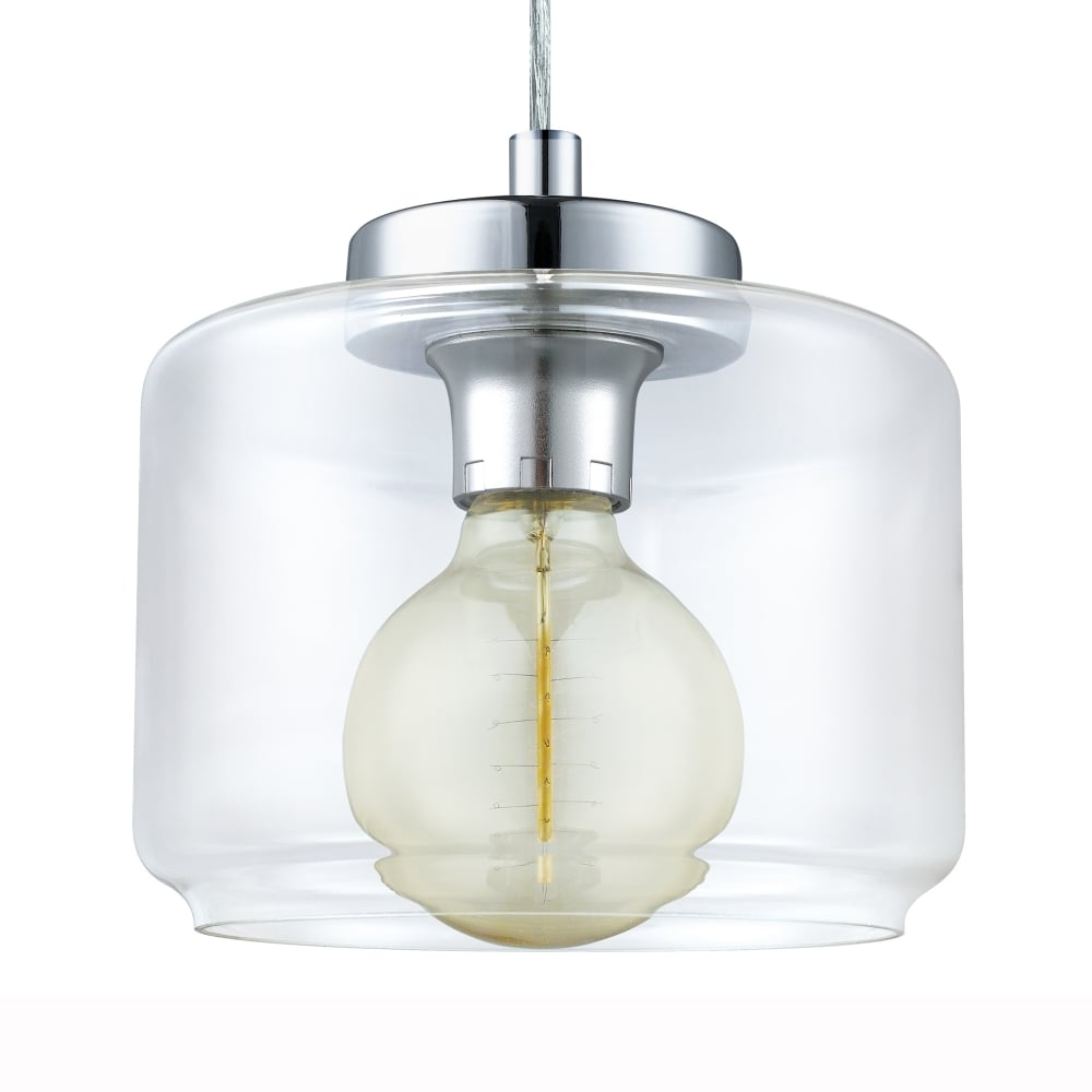 Eglo 49266 Brixham Clear Glass And Chrome Pendant Light