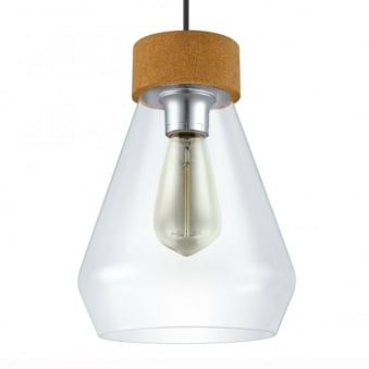 Brixham Glass and Sanded Coated Steel Pendant Light