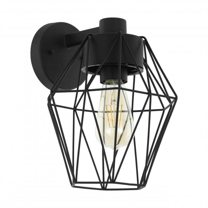 Eglo Canove IP44 Outdoor Cage Wall Light in Black
