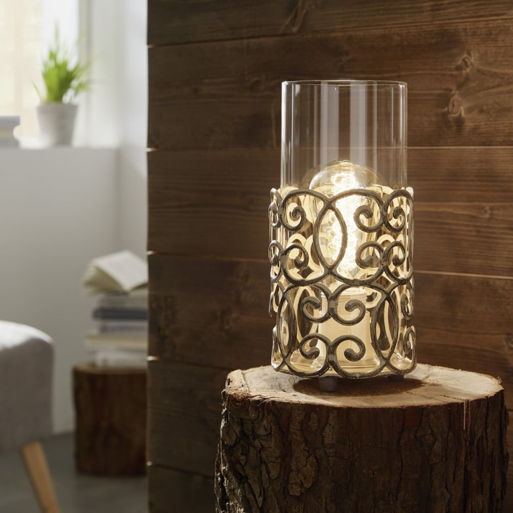 Small Decorative Lamp: Eglo 49274 Cardigan Patina Brown Decorative Table Lamp Light