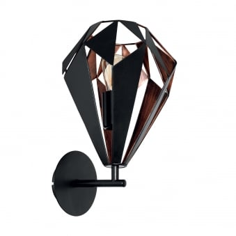 Carlton 1 Black and Copper Cage Wall Light