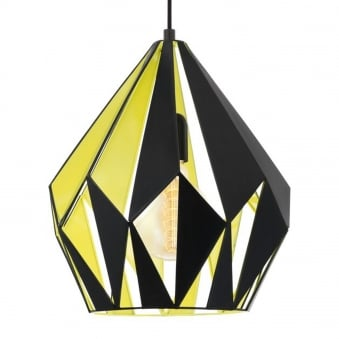 Carlton 1 Black and Yellow Gold Open Cage Pendant Light