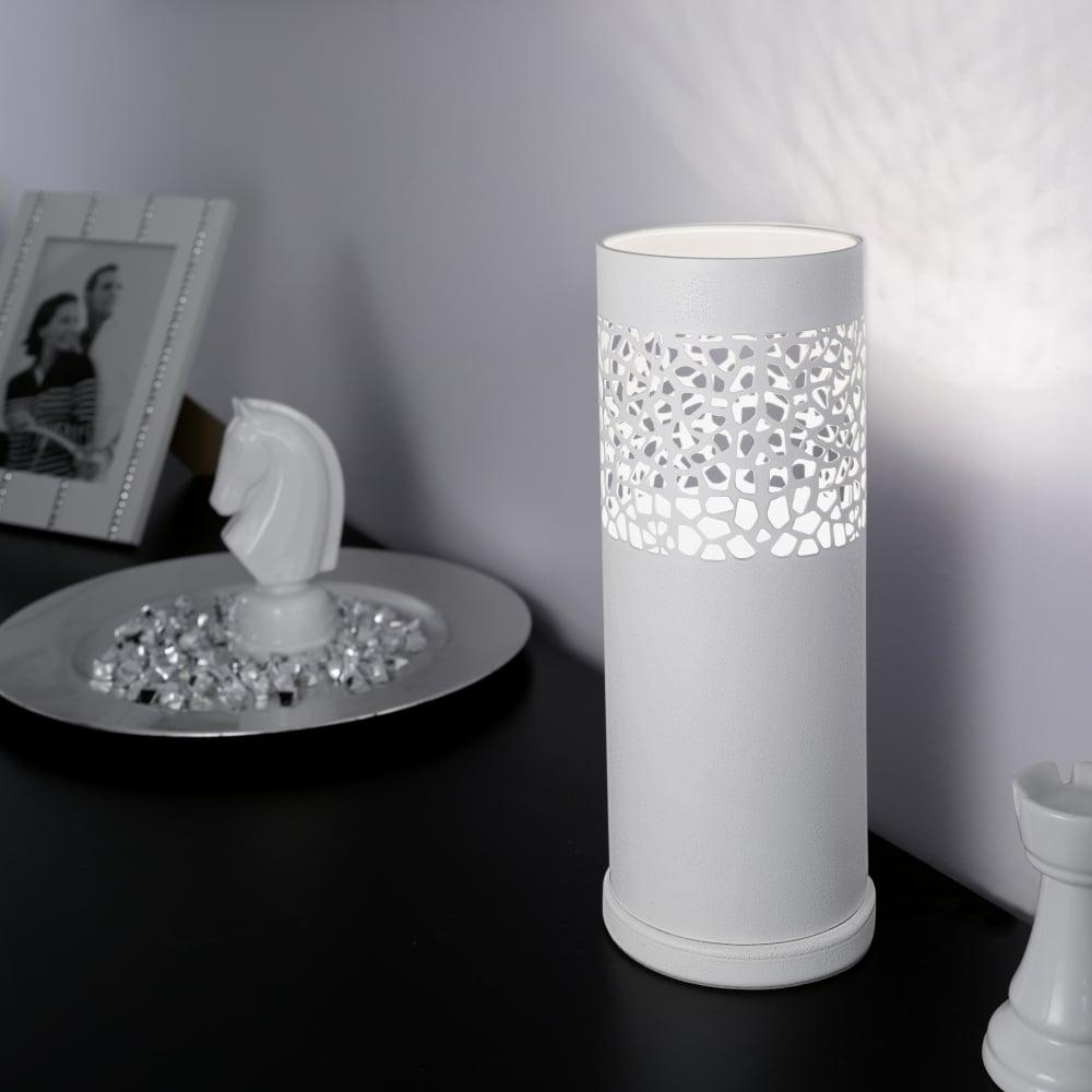 Carmelia White Cut Out Table Lamp
