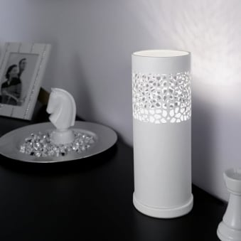 Carmelia White Cut Out Table Lamp