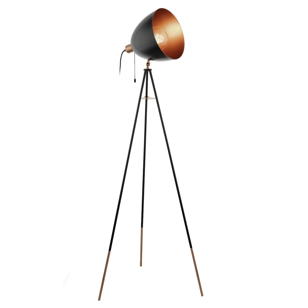 Eglo 49396 chester black and copper floor lamp chester black and copper floor lamp aloadofball Choice Image