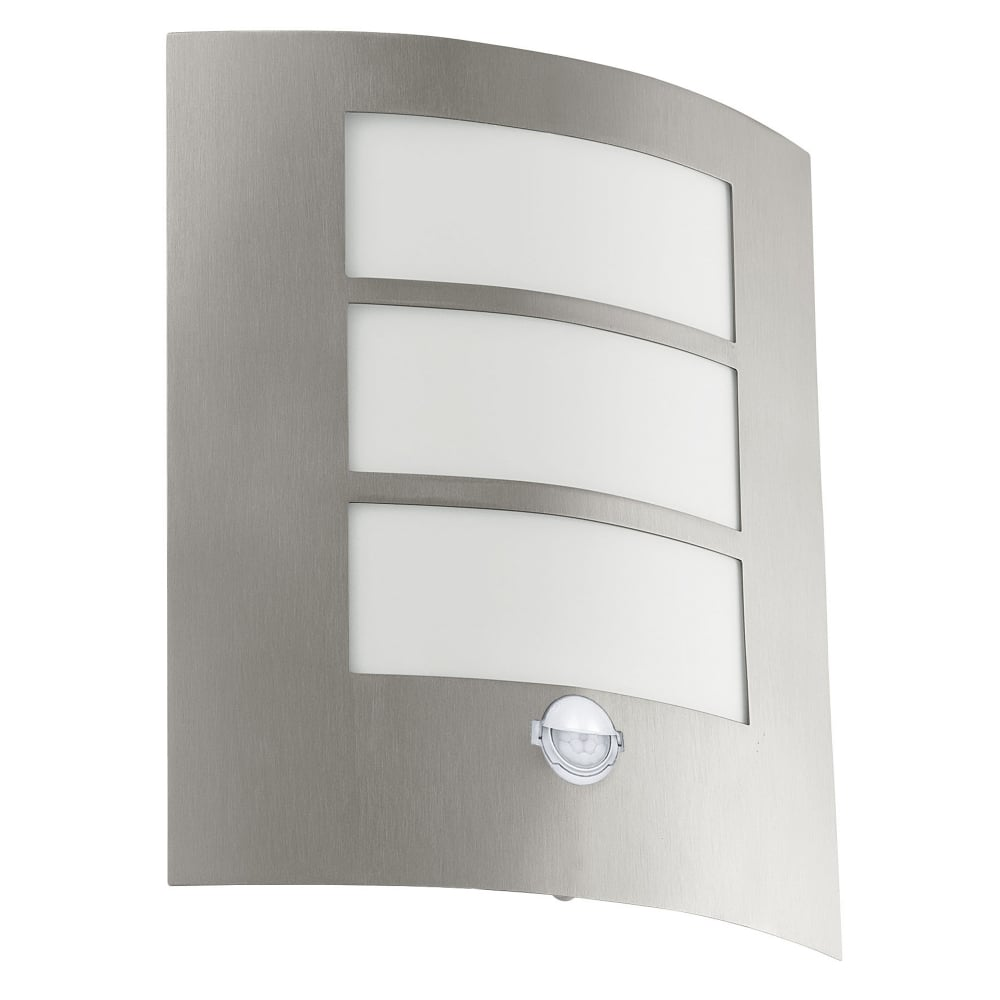 Eglo 88142 city pir outdoor ip44 stainless steel wall light for Norme ip44 exterieur