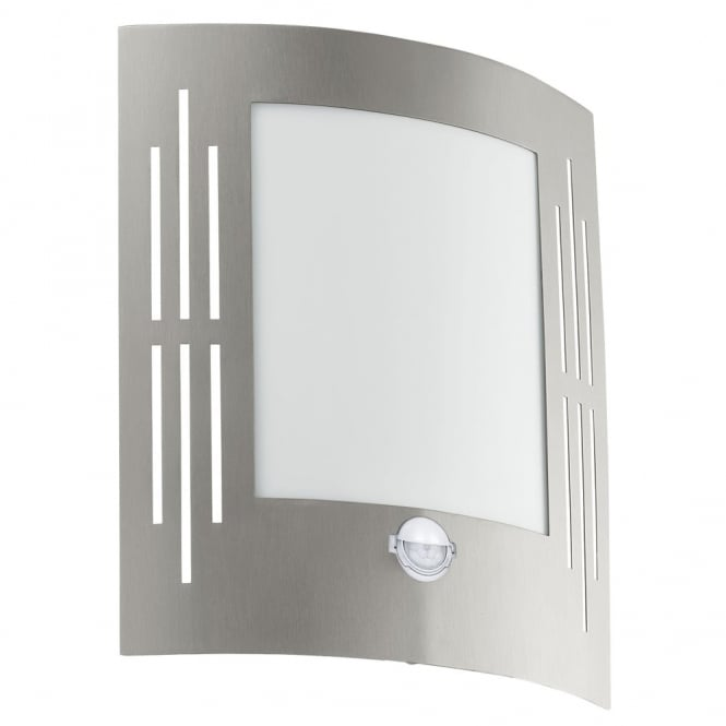 Eglo City PIR Outdoor IP44 Stainless Steel Wall Light