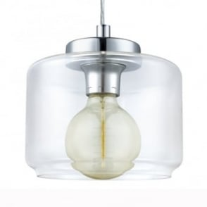 Brixham Clear Glass and Chrome Pendant Light