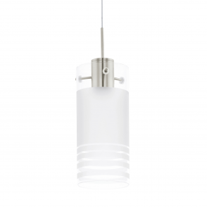 Melegro Pendant in Satin Nickel and Satinated Glass
