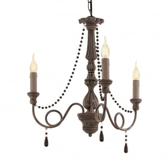 Colchester 3 Antique Taupe Wooden Chandelier Pendant