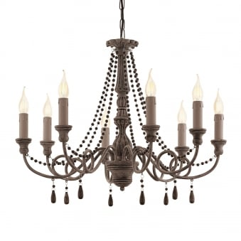 Colchester 8 Antique Taupe Wooden Chandelier Pendant