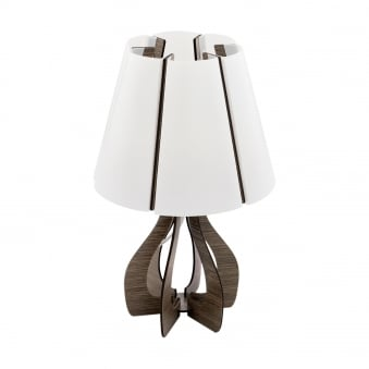 Cossano Dark Wooden Table Lamp with White Shade