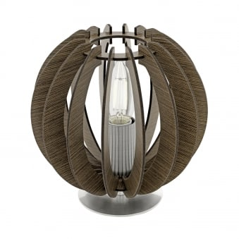 Cossano Round Dark Wooden Table Lamp