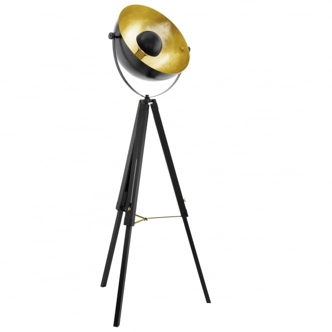 Eglo 49618 covaleda tripod floor lamp in black brass and gold for Brass tripod floor lamp uk
