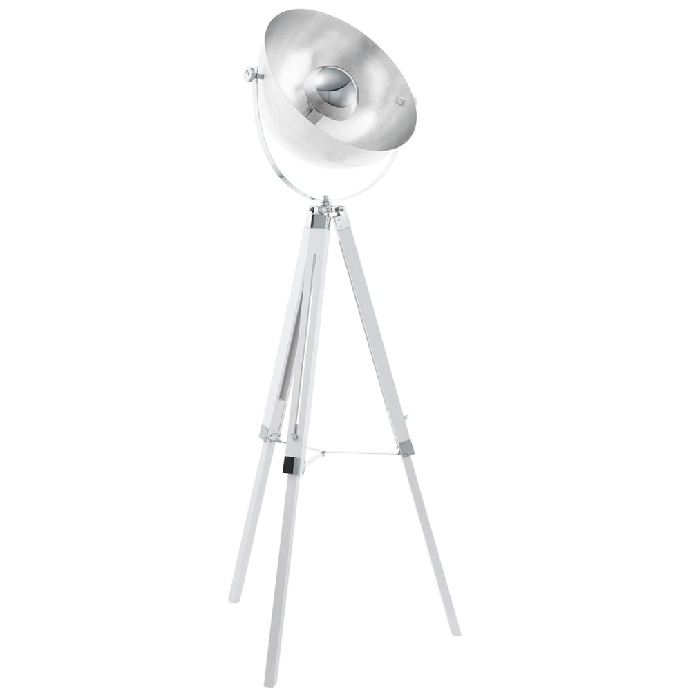 Eglo 49877 Covaleda Tripod Floor Lamp in White Silver and Chrome