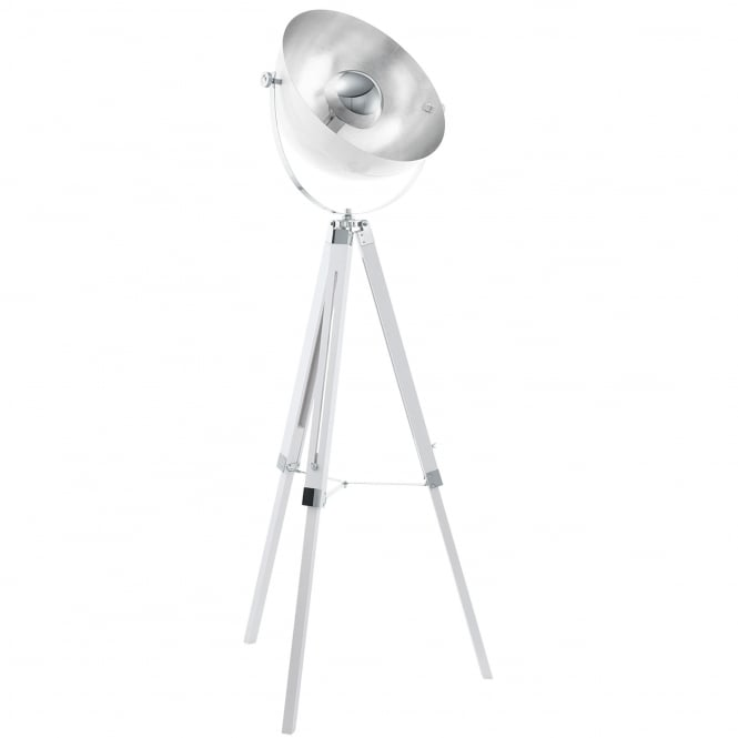 Eglo Covaleda Tripod Floor Lamp in White Silver and Chrome