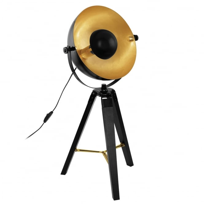 Eglo Covaleda Tripod Table Light in Black Brass and Gold