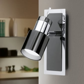 Davida 1 LED Single Spotlight in Black and Chrome