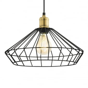 Denham Black and Brass Cage Pendant